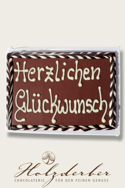 """Deko Tafel """"Herzlichen Glückwunsch"""" Edelvollmilch Schokolade"""