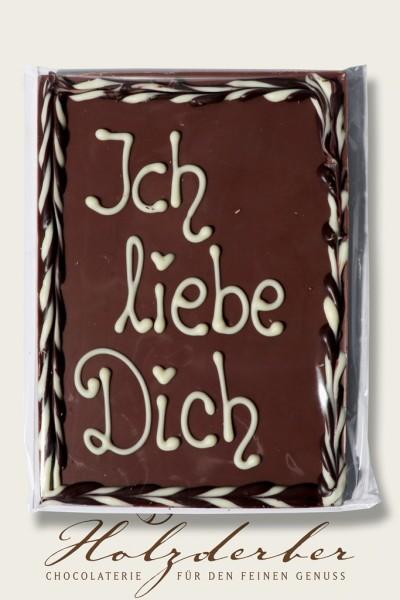 """Deko Tafel """"Ich liebe Dich"""" Edelvollmilch Schokolade"""